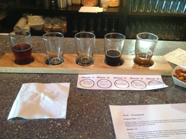 PIcture of my almost finsihed flight of beers